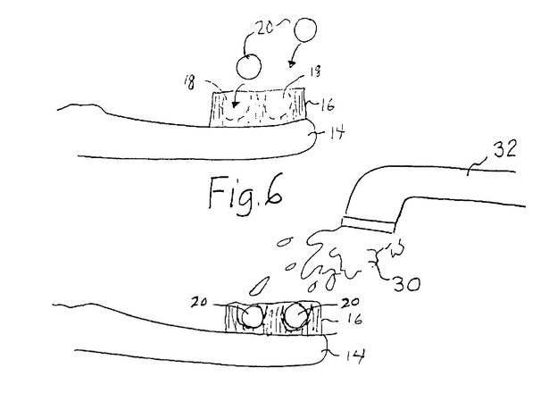 "A drawing from Joshua Atkin's 2012 patent for ""Dehydrated Dentifrice And Toothbrush."""