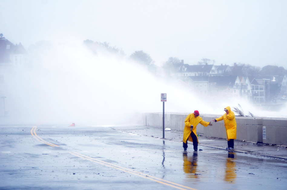 Waves crash over Winthrop Shore Drive in Winthrop as Hurricane Sandy comes up the Massachusetts coast on Oct. 29. (Getty Images)
