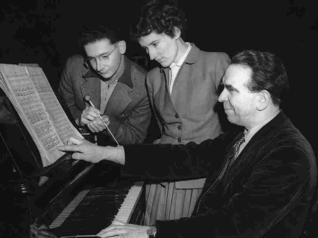 The real Joyce Hatto, pre-scandal, with condutor Martin Fogel and composer Walter Gaze Cooper at the piano in 1954.