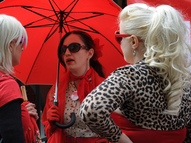 Supporters of the Scarlet Alliance Australian Sex Workers Association demand better legal protections at a rally outside the New South Wales Parliament in September.