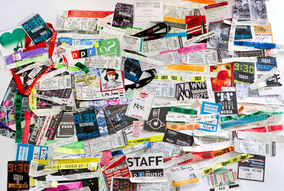INTERACTIVE: BOB BOILEN'S WRISTBANDS 2012 - Wristbands, ticket stubs and badges from a few of the hundreds of shows Bob Boilen saw in 2012.