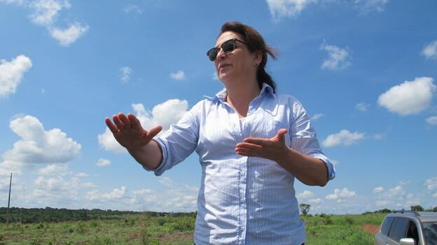 Katia Abreu, a senator and landholder who heads the powerful landowners bloc in Brazil's legislature, takes a look at the new plantations on her 12,000-acre farm. (Juan Forero )
