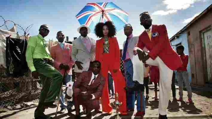 "Solange and her Sapeur co-stars in the video for ""Losing You."""