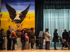 People wait in line to vote at the Columbia Heights Educational Campus on Nov. 6 in Washington, D.C.