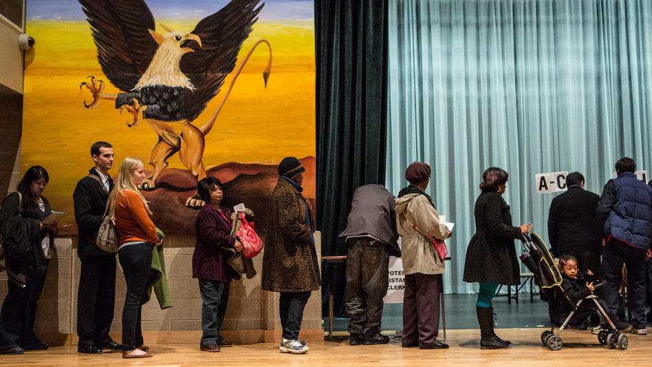 People wait in line to vote at the Columbia Heights Educational Campus on Nov. 6 in Washington, D.C. (Getty Images)