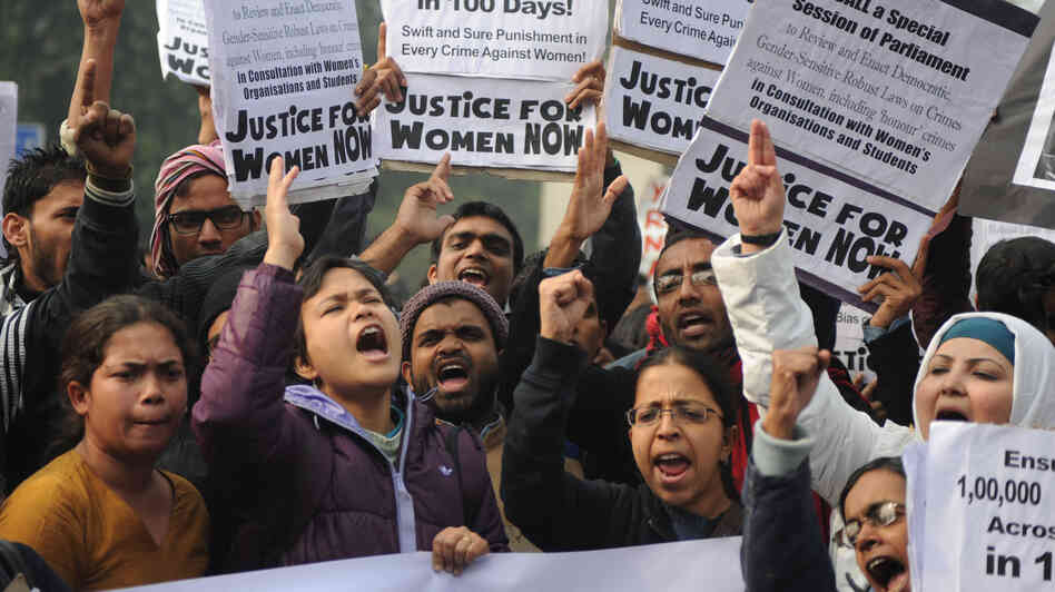 Demonstrators rally in New Delhi on Thursday as part of ongoing protests following the rape of