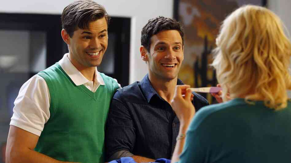 Partners Bryan (Andrew Rannells) and David (Justin Bartha)