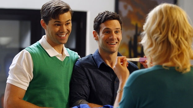 Partners Bryan (Andrew Rannells) and David (Justin Bartha) decide to use a surrogate to expand their family in The New Normal. (AP)