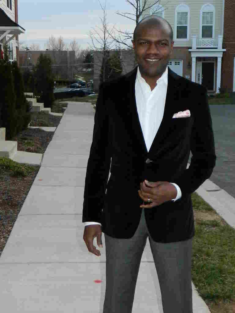 Tell Me More's Barbershop and political chat contributor Corey Ealons is outfitted in a Joseph Abboud black velvet jacket with a ticket pocket and pink silk handkerchief. Ealons says real men can wear pink with confidence, and that his style is classic and clean with a little edge.