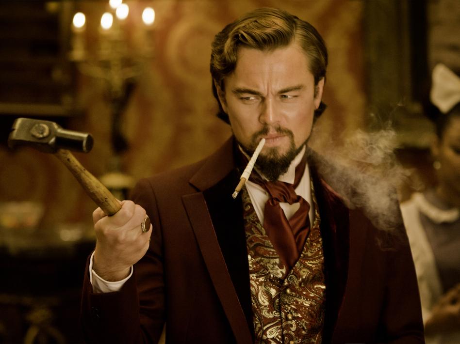 Calvin Candie (Leonardo DiCaprio), a slave owner, holds Django's wife captive.