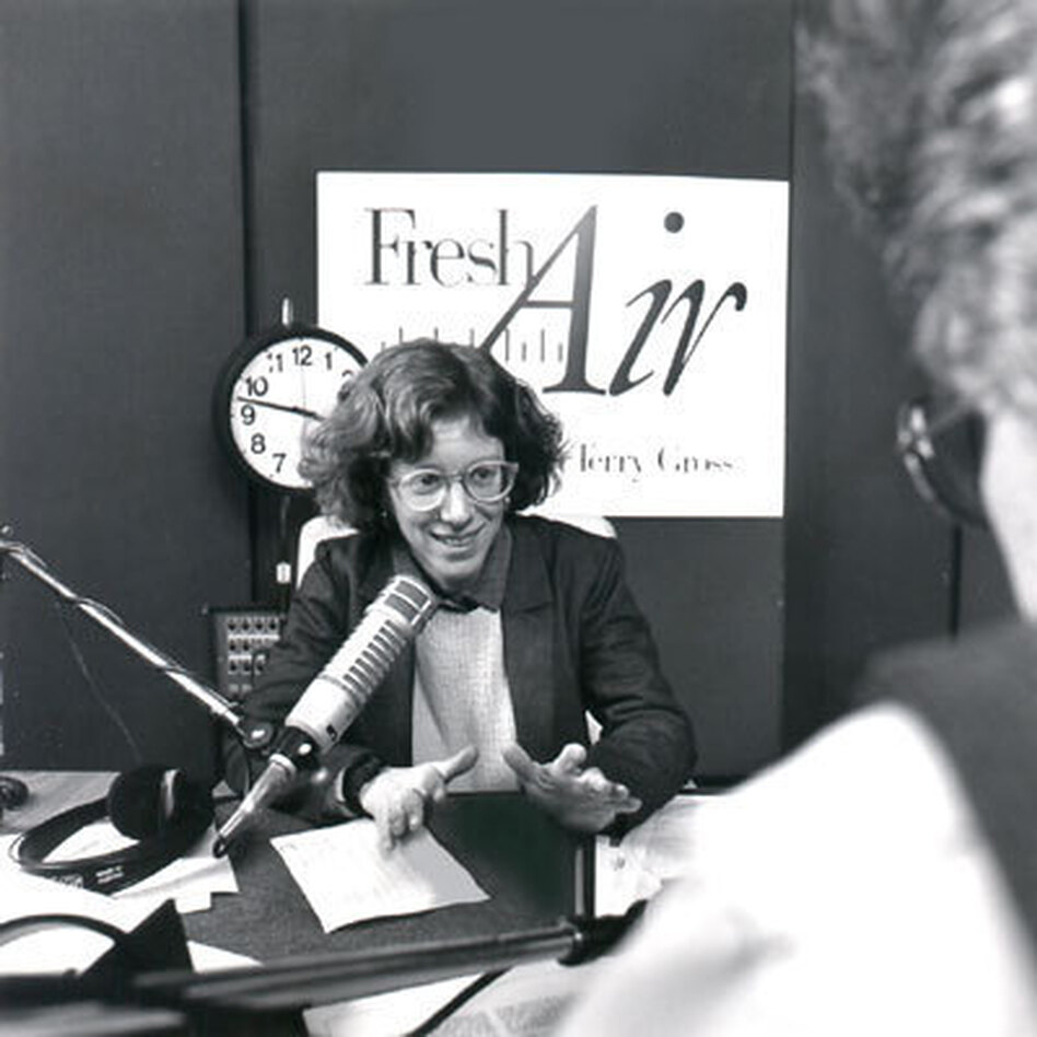 Terry Gross, shown above in 1987, has been host of <em>Fresh Air</em> since 1975, when it was broadcast only in greater Philadelphia.