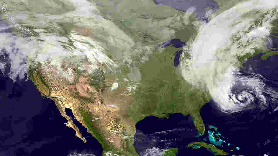 This satellite image from Oct. 28 shows Hurricane Sandy in the Atlantic Ocean before making landfall.
