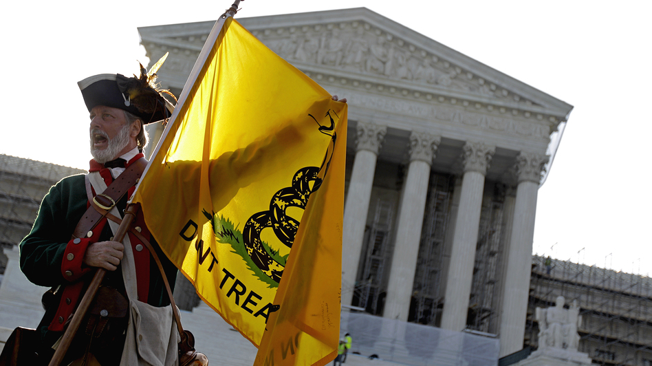 Tea Party supporter William Temple of Brunswick, Ga., protested outside the Supreme Court in June as justices debated the constitutionality of President Obama's health care law. (AP)