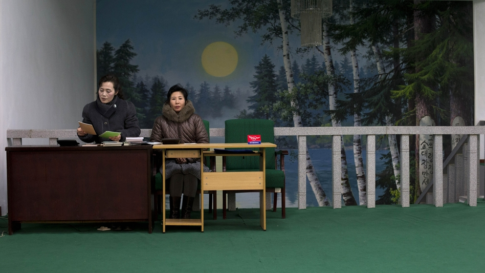Women work at a bookstore in Pyongyang. With so many men unable to find work and support a family, more young women are willing to delay marriage. (AP)