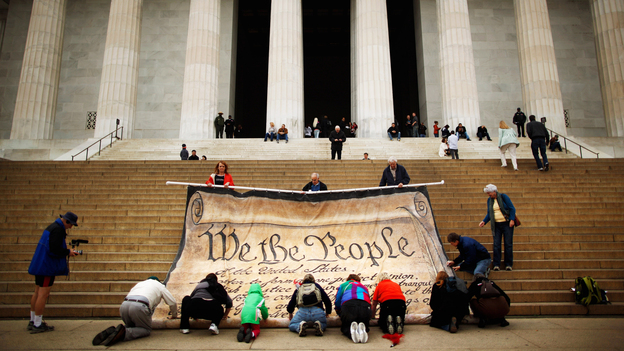 Opponents demonstrate against the Supreme Court's Citizens United ruling at the Lincoln Memorial in October. The decision changed campaigning, but it apparently didn't make ads more fact-based. (Getty Images)