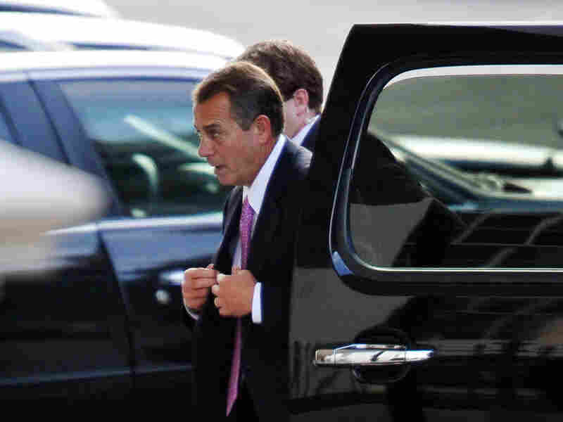 """House Speaker John Boehner arrives at the White House on Friday for talks with President Obama and congressional leaders aimed at avoiding the """"fiscal cliff."""""""