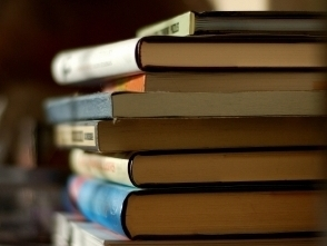 A stack of books.