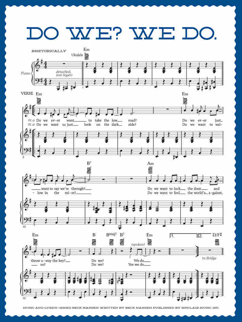 """The sheet music for Beck's """"Do We? We Do."""" as it appears in the Song Reader package."""