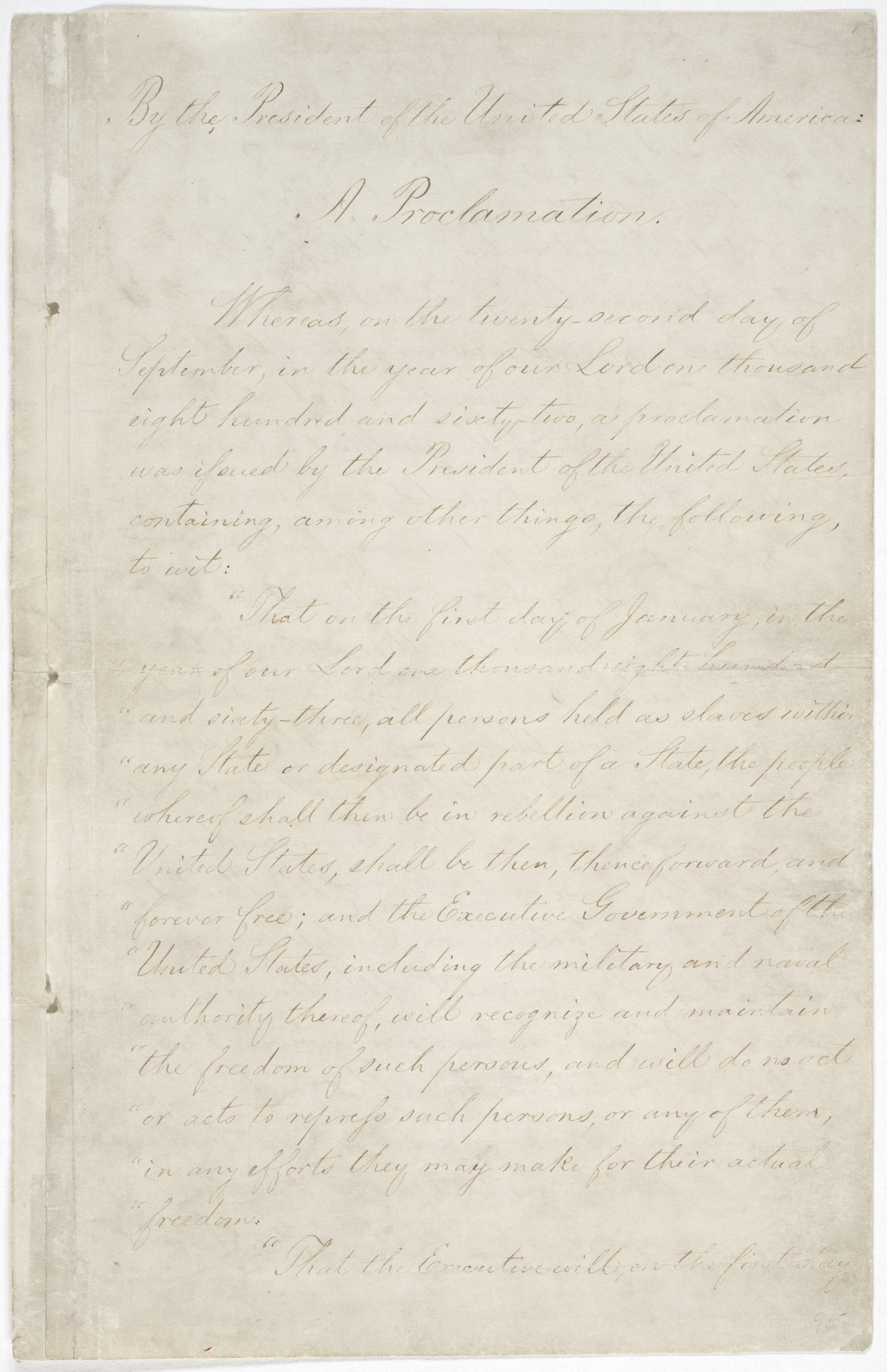 The first page of the original Emancipation Proclamation on display at the National Archives in Washington, D.C.