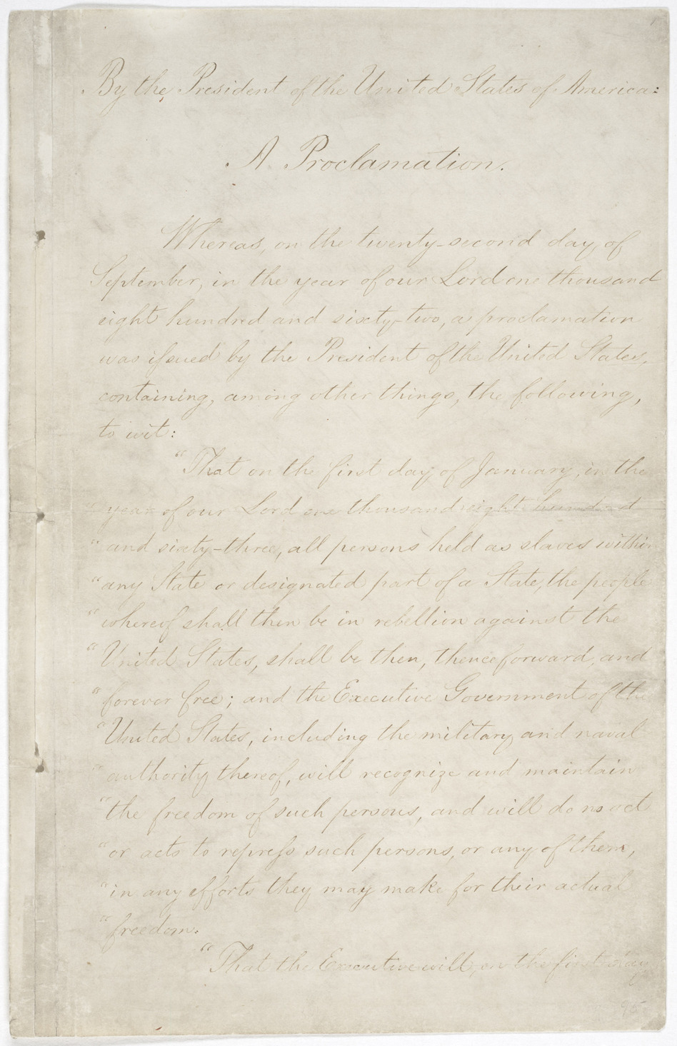 The first page of the Emancipation Proclamation on display at the National Archives in Washington, D.C. (National Archives and Records)