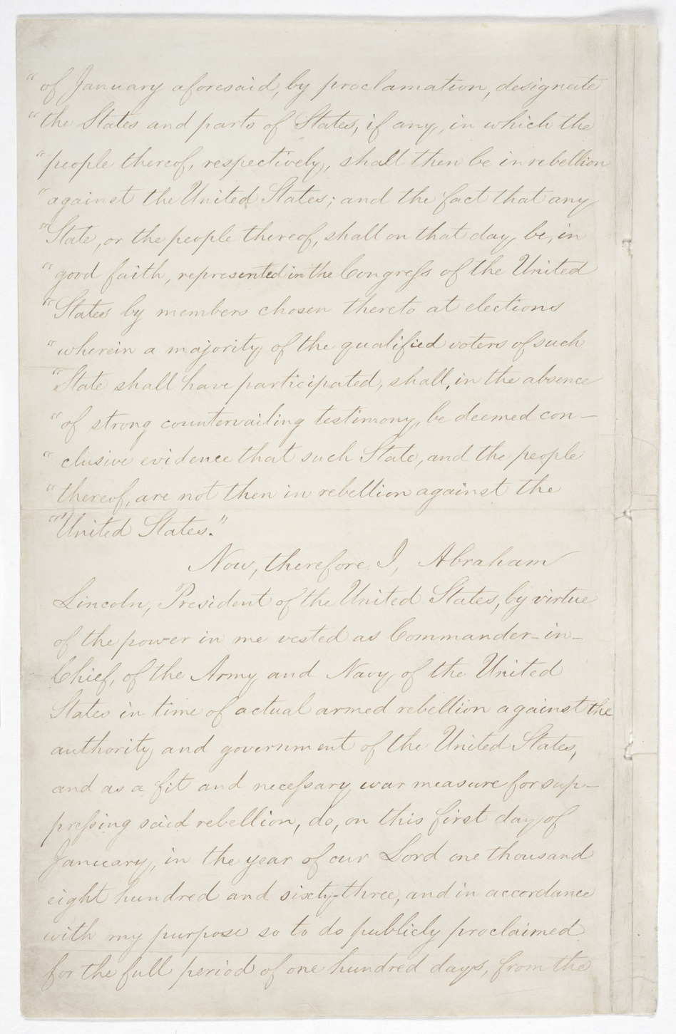 Page 2 of the Emancipation Proclamation. (National Archives and Records)