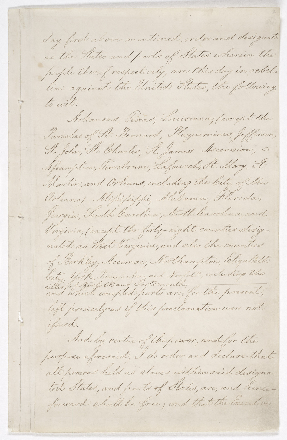 Page 3 of the Emancipation Proclamation. (National Archives and Records)