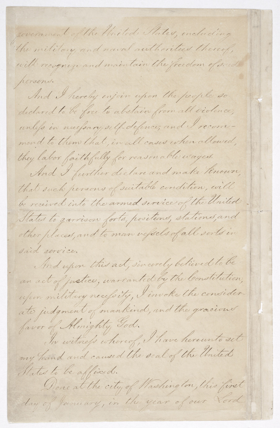 Page 4 of the Emancipation Proclamation. (National Archives and Records)