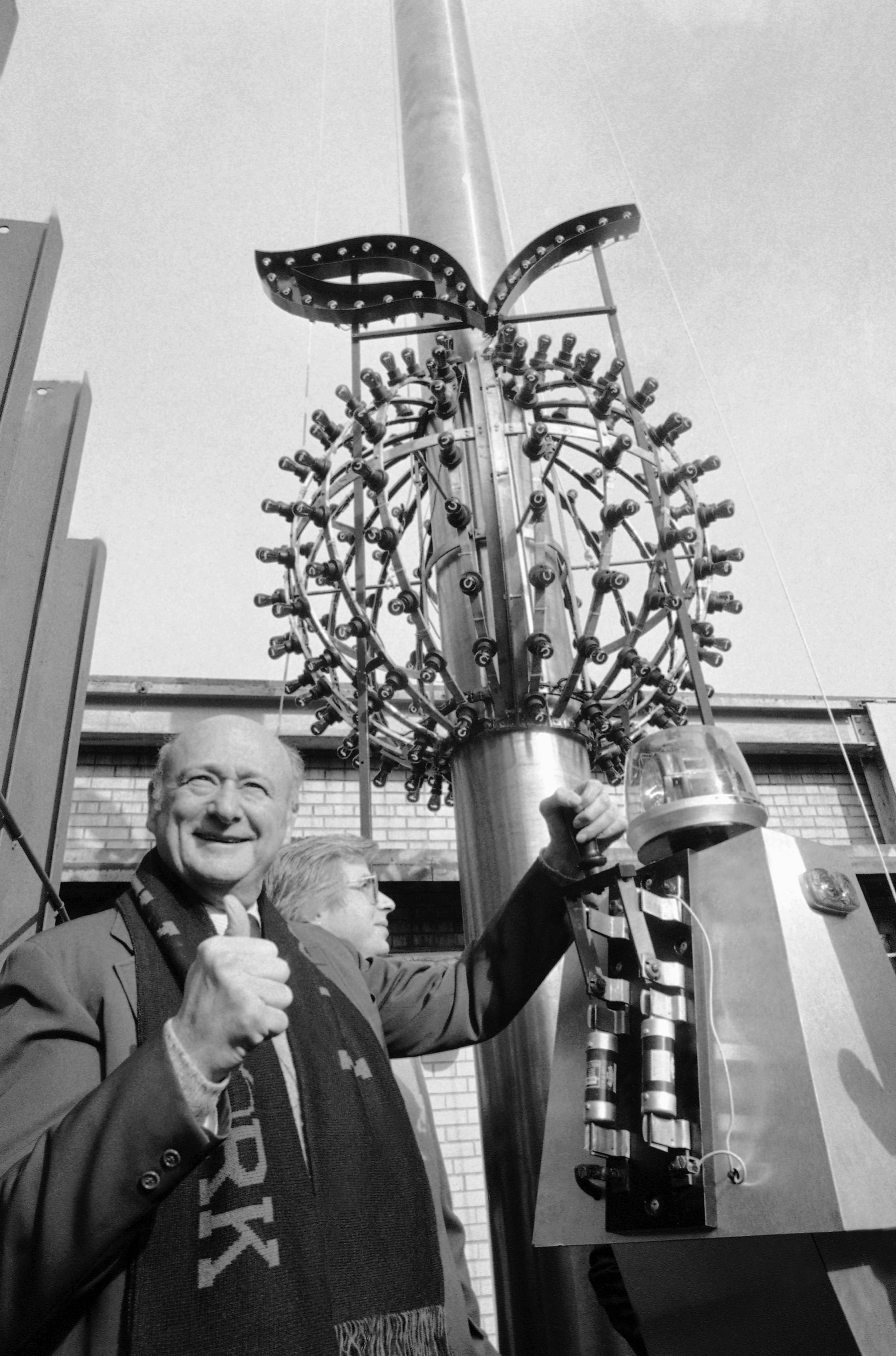"For several years beginning in 1981, the ball was outfitted with red lights and a stem in keeping with the ""I Love New York"" campaign. Then-New York City Mayor Ed Koch gives a thumbs up as he tests the lights in '81."