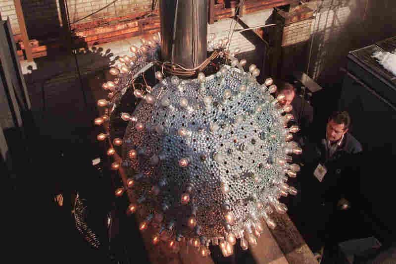 The newly refurbished 6-foot-high ball was given strobes, halogen lamps, a fog machine and 12,000 rhinestones in 1995.