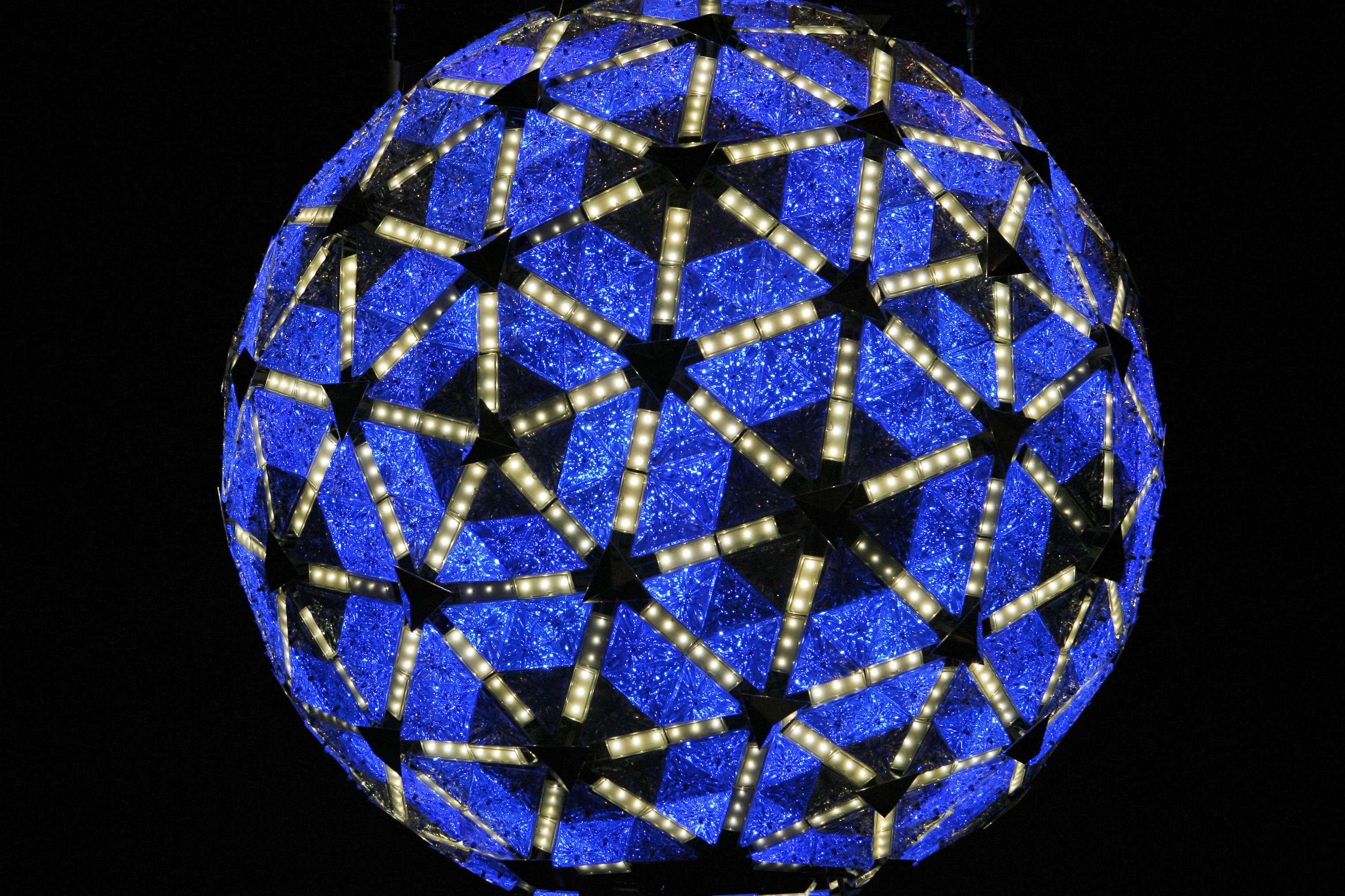A new ball was built for the 100th anniversary of the ball drop in 2007 -- twice as bright as its predecessor and color-enabled with LED technology.