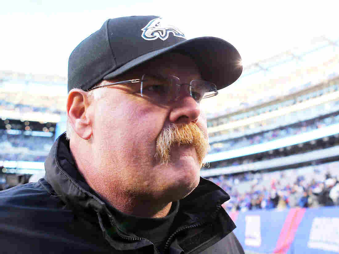 Andy Reid as he left the field Sunday in New Jersey. His last game as head coach of the Philadelphia Eagles was a 42-7 loss to the New York Giants.