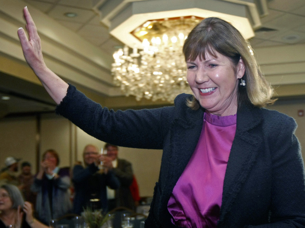 Rep.-elect Ann Kirkpatrick, D-Ariz., enters a room full of supporters on Election Day, Nov. 6, in Flagstaff, Ariz.