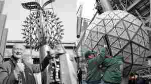 The Times Square New Year's Eve ball in 1981 (left) and in 2012 (right)