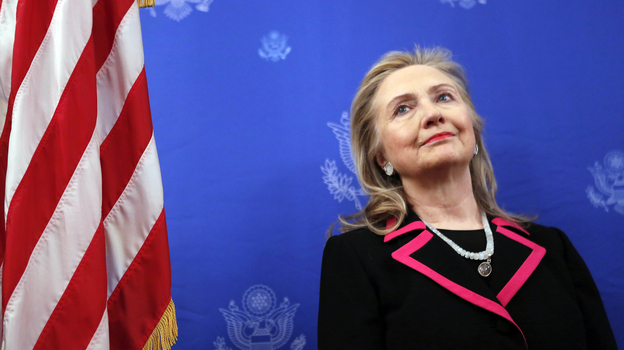 Secretary of State Hillary Clinton on Dec. 4 in Brussels, before she fell ill. (AFP/Getty Images)