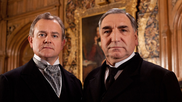 Hugh Bonneville (left) stars as Lord Grantham and Jim Carter as Mr. Carson, the formidable butler of Downton Abbey. (Carnival Films)