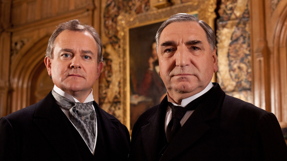 Hugh Bonneville (left) stars as Lord Grantham and Jim Carter as Mr. Carson, the formidable butler of <em>Downton Abbey</em>.