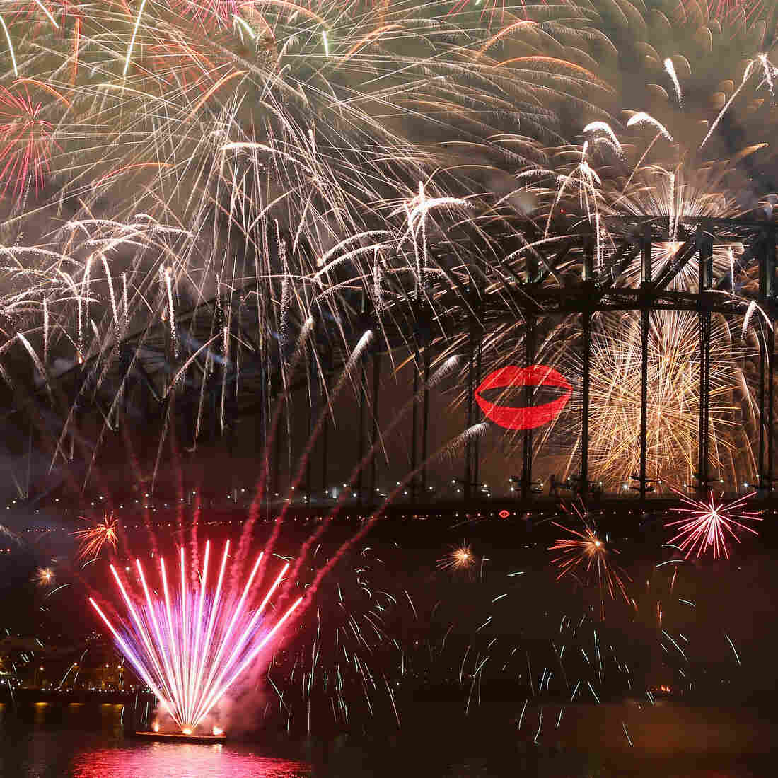 In Sydney, Australia, early today, New Year's Eve celebrations included fireworks and a big kiss.