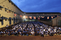 Sri Lankan inmates at the Welikada prison pray during a religious ceremony. Over four thousand prisoners at one of the country's largest prisons invoked blessings and ushered in the new year by engaging in Buddhist rituals.