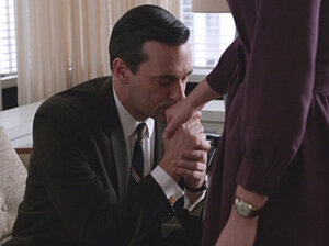 "Don Draper (Jon Hamm) and Peggy Olson (Elisabeth Moss) in the pivotal Mad Men episode, ""The Other Woman."""
