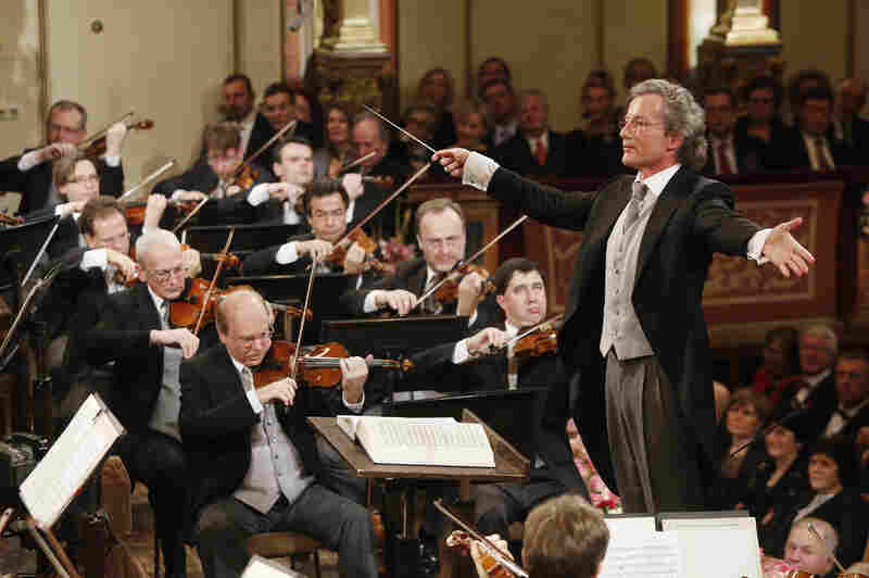 Austrian conductor Franz Welser-Moest and the Vienna Philharmonic Orchestra perform the traditional New Year's Concert on January 1, 2013, at the music association in Vienna.