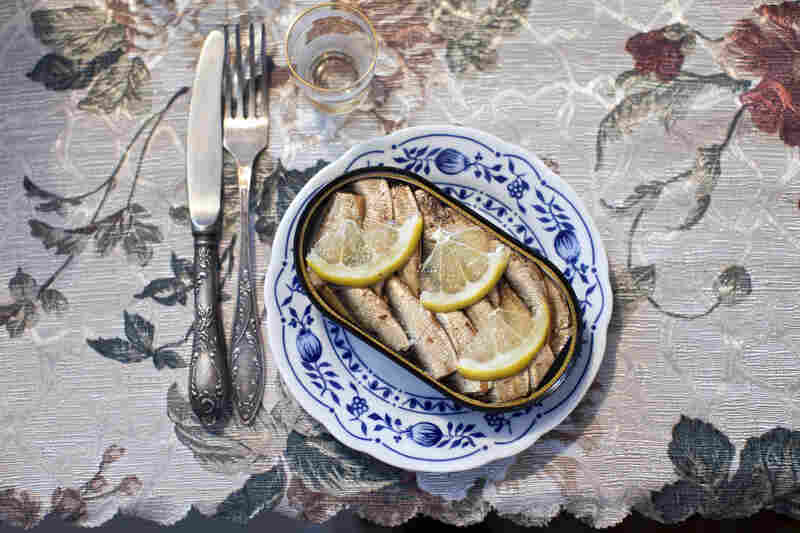 Canned sardines are served at a family dinner at the home of Moldovan immigrant Puma Rotner in Ashdod. Rotner left her native city of Bendery in Moldova in 2006, bringing her dishes and silverware to Israel.