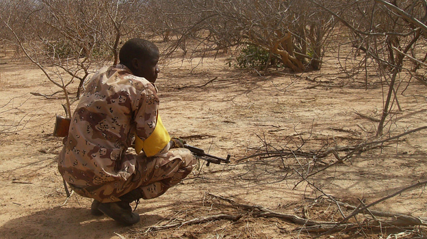 A Malian troop member checks bushes after a military raid in the Wagoudou forest. (AFP/Getty Images)