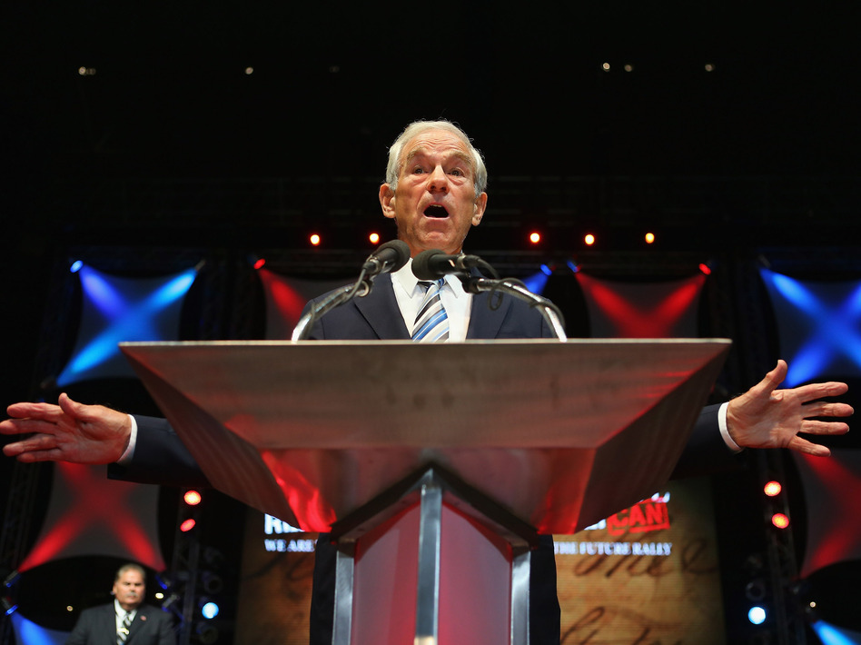 Rep. Ron Paul, R-Texas, speaks at the University of South Florida in Tampa in August. (Getty Images)