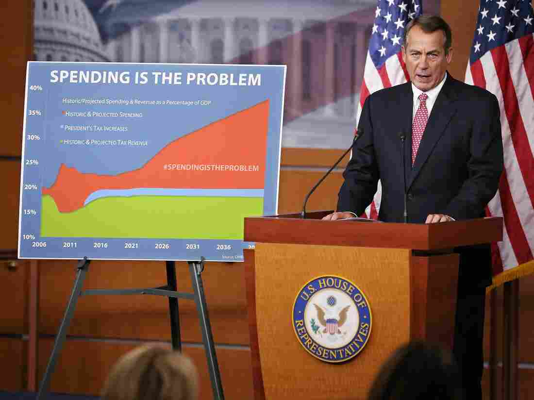 Speaker of the House John Boehner holds his weekly news briefing in the Capitol Visitors Center on Dec. 13, 2012 in Washington, D.C.