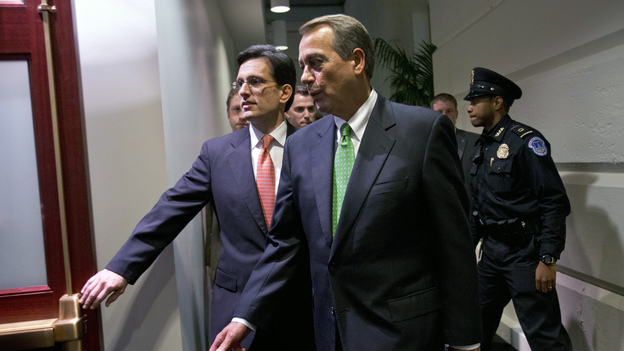 House Speaker John Boehner, R-Ohio (right), and Majority Leader Eric Cantor, R-Va., enter a Republican caucus meeting at the U.S. Capitol on Tuesday. (AP)