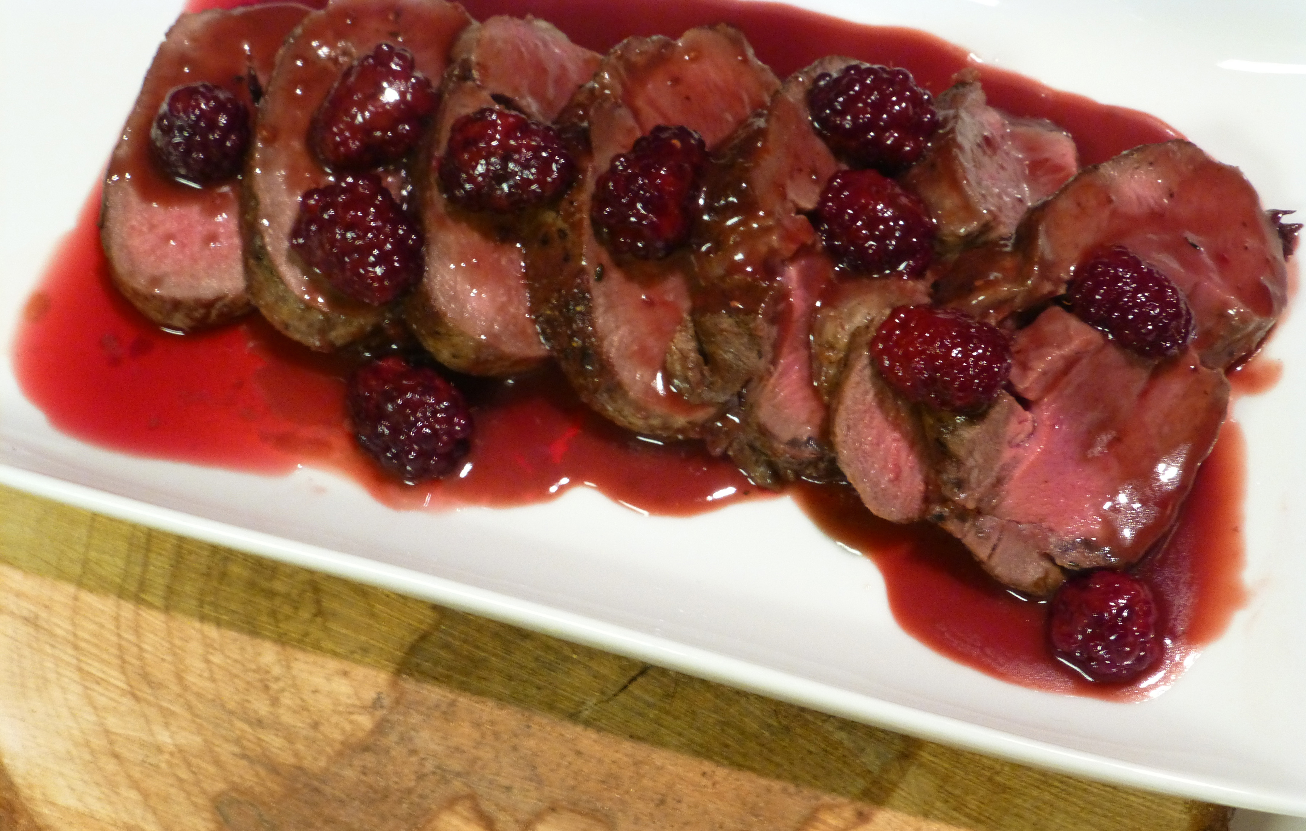 Roast Venison Loin With Blackberry Bordelaise