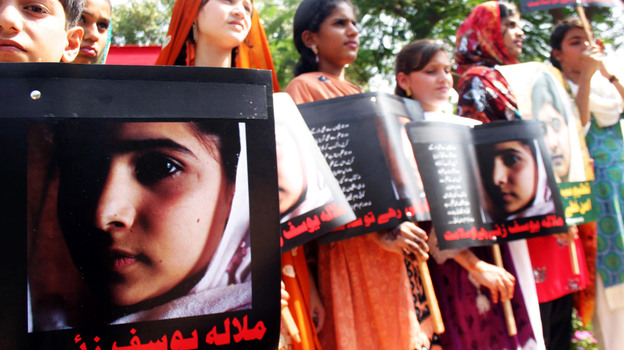 """In November, Pakistani students in Karachi participated in a """"Malala Day"""" to show support for the girl who was shot when she spoke out against the Taliban. (Xinhua /Landov)"""