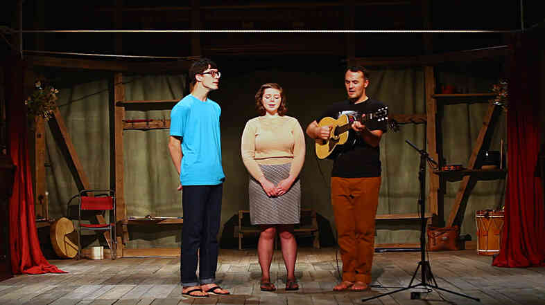 Mount Eerie plays a song for a Field Recordings video shoot, at Folger Shakespeare Library.