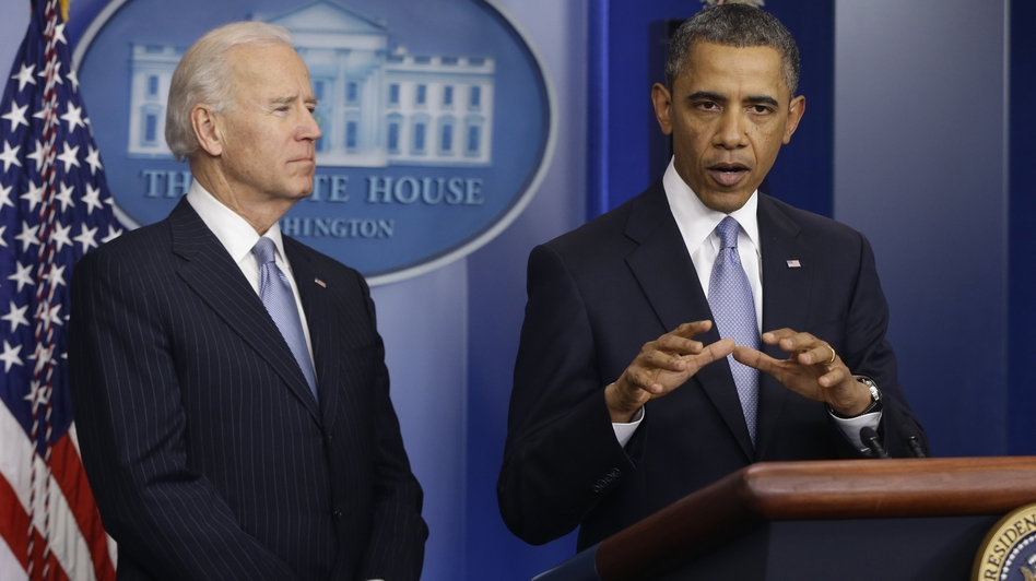 President Barack Obama and Vice President Joe Biden make a statement regarding the passage of the fiscal cliff bill in the Brady Press Briefing Room at the White House late Tuesday evening.
