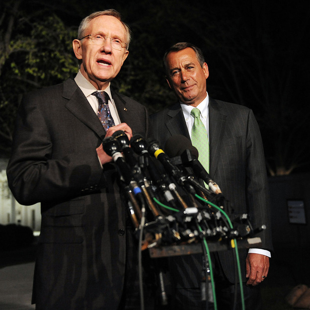 House Speaker John Boehner (right) and Senate Majority Leader Harry Reid at the White House in April 2011. Last week, they weren't so chummy.